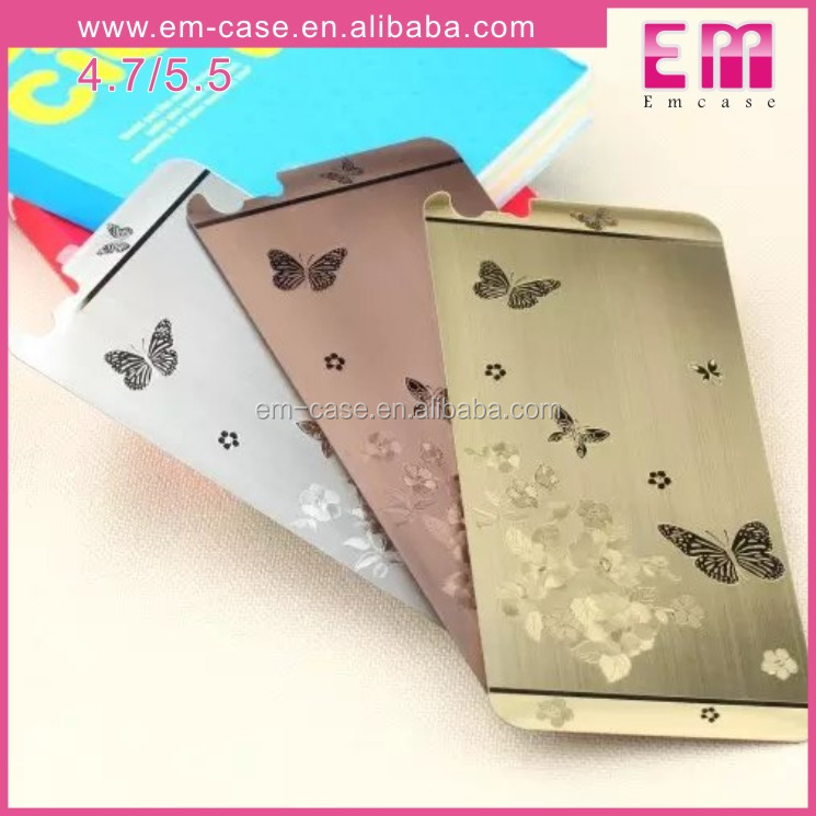 Front and Back Electroplate Tempered Glass Screen Protector With Butterfly Design For Iphone 6 4.7 5.5