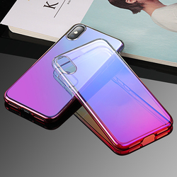 For iphone x phone case cover , Mirror hard pc gradual color changing mobile phone protective cases