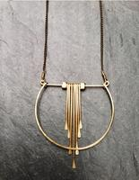 Geometric Cascade Necklace, Hammered , 14K Gold fill, Crescent, Portland Architectural Jewelry
