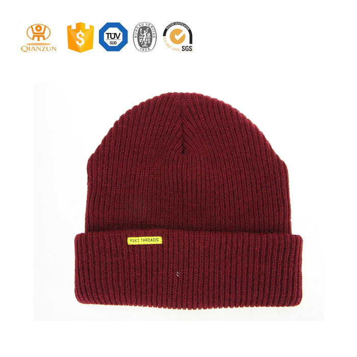 Custom knitted hat red beanie with patch