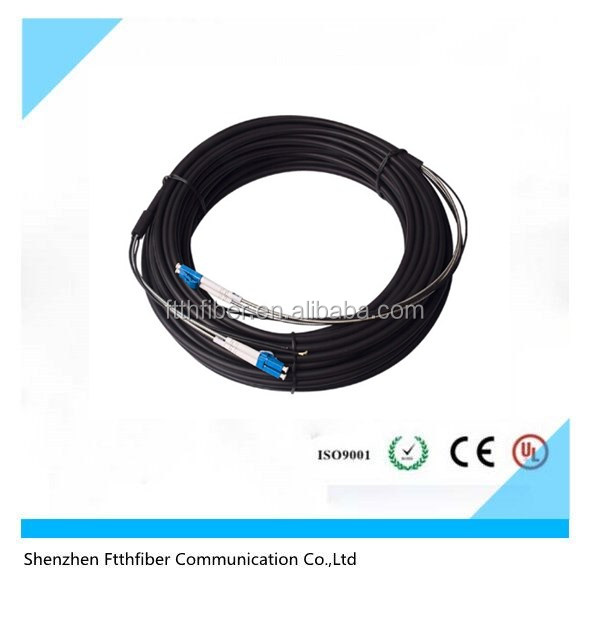 Armoured lc multimode duplex fiber optic patch cord for outdoor use