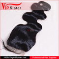Wholesale factory virgin brazilian human 3 part silk base lace closure body wave