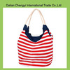 Fashion hot sale ladies canvas stripe beach bag