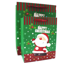 Green Happy Christmas Father craft paper gift bag retail party bags