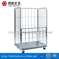Metal Steel Wire Mesh Roll Container Cage for Warehouse Logistic Storage