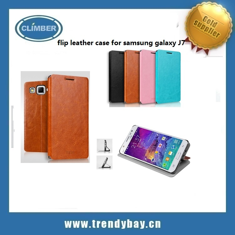Mofi brand high quality leather book style flip cover for samsung galaxy j7