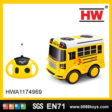New product 4 channel remote control plastic rc toys mini school bus with light & music