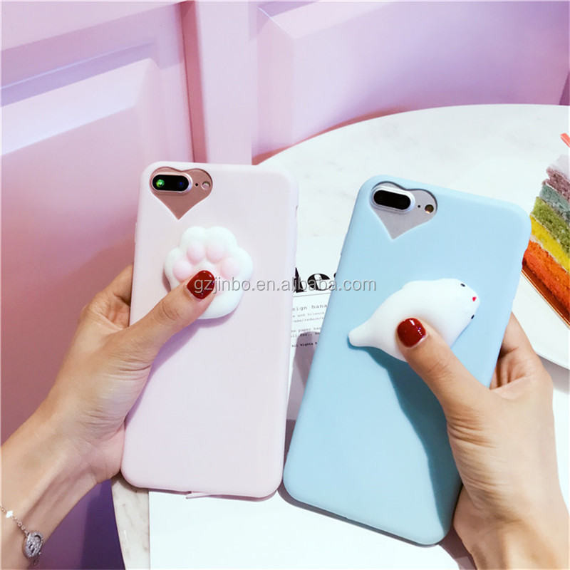 3D TPU cat Soft slow rising squishy phone case for iPhone 7