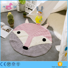 2017 new design roud cotton knitted baby play mat by handmade