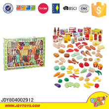 120pcs Pretend play toy tableware set for kids plastic food toy