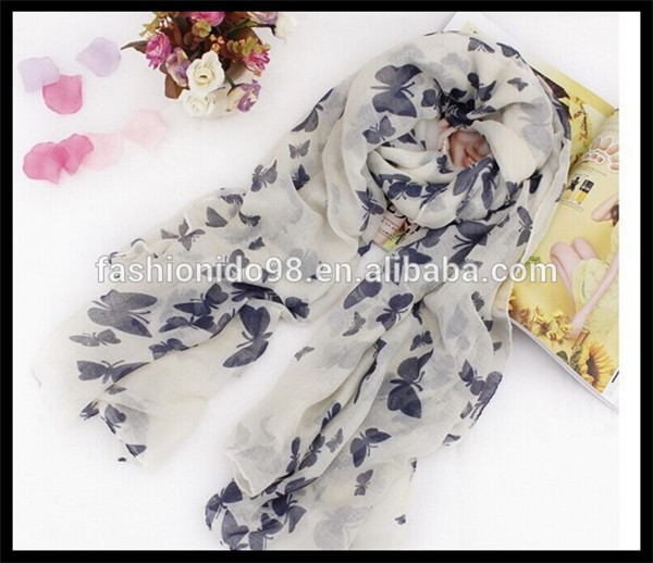 Women/Girl Soft Voile Butterfly Pattern Scarf Wrap Shawl Stole Neck Bandana Scarf