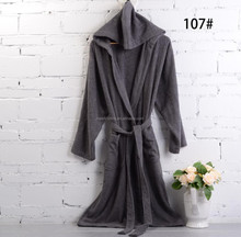 M L XL size plain color hooded mens bathrobe 100% cotton arab robes for men