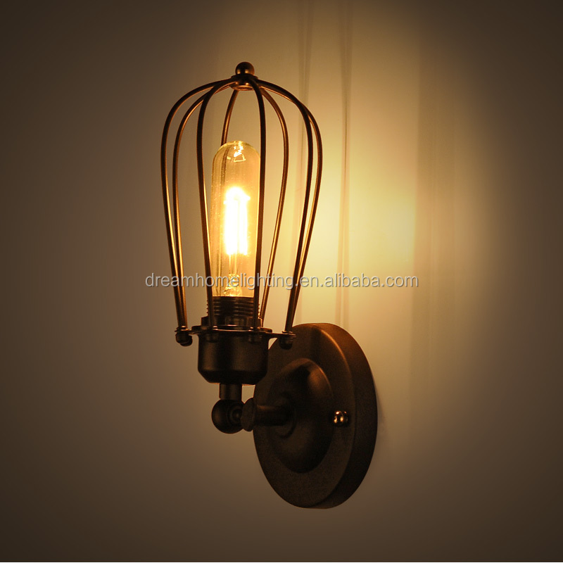 cage wall lamp sconce lighting in iron material