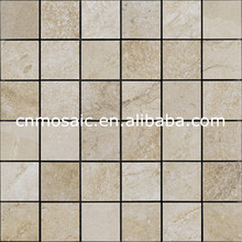 beige square polished marble mosaic tile for accent