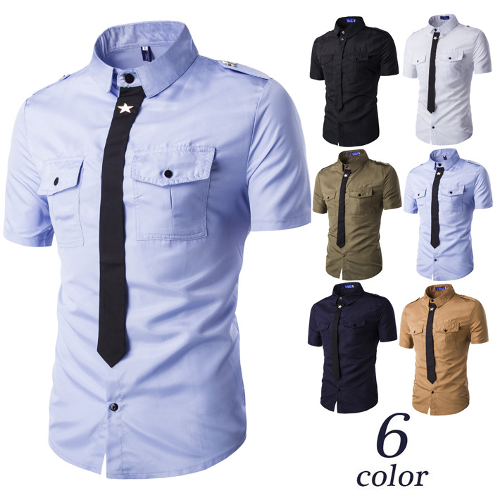 2017 NEW mens European Style Fashion Fake Tie Little Empty Badges Short Sleeve Shirt with wholesale price