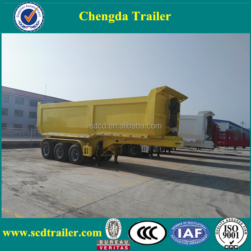 2017 China CIMC U-shape 3 axles strong 50ton hydraulic tractor rear lifting tipping Trailer for sale