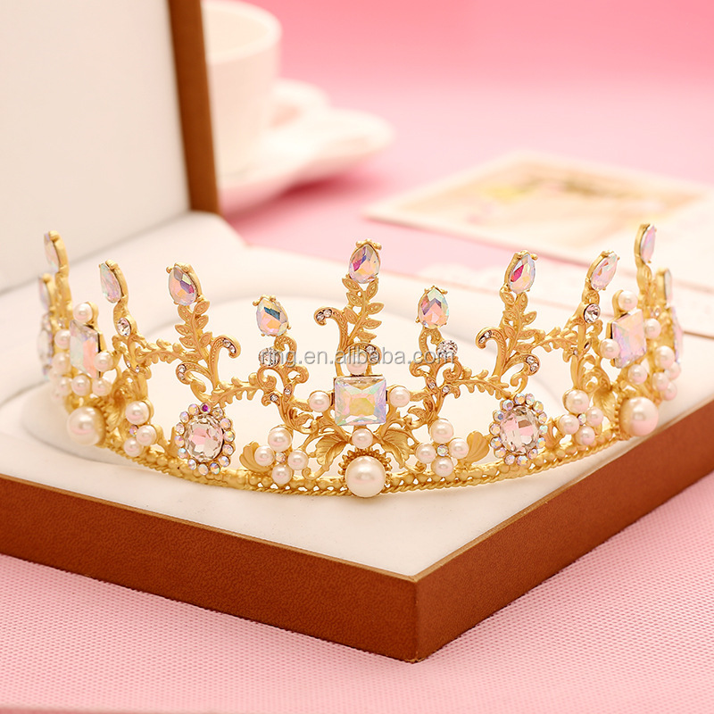 Bridal Gold Leaf Rhinestone Pearl Beauty Pageant Hair Crown Tiara Hair Accessories