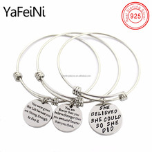 DIY wish message engraved 925 sterling silver pendant bracelet , Fashion DIY women bracelets curving words pendant bangle