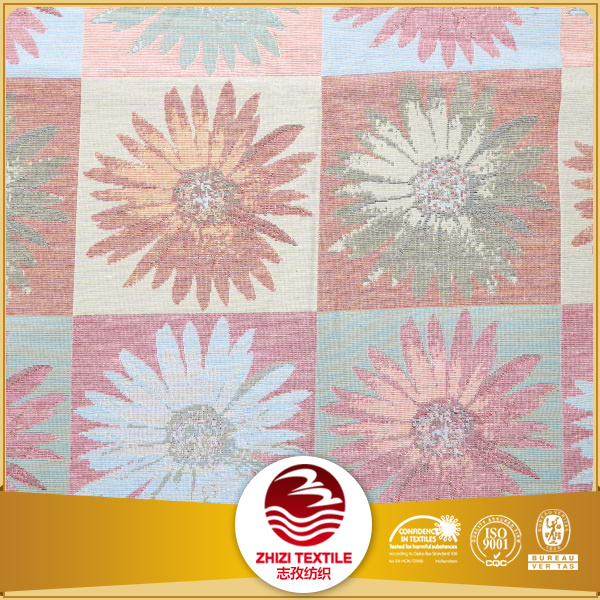 Polyester cotton yarn dyed extra wide jacquard sunflower curtain fabric samples