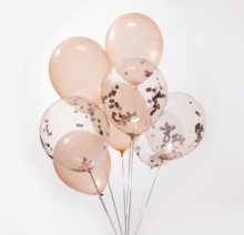 <strong>12</strong> inch contetti balloon valentine's day decoration Transparent party gold latex balloon
