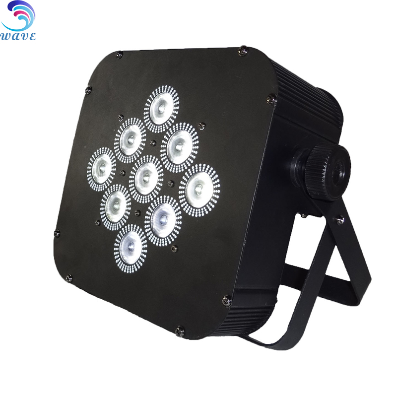 9pcs Rgbw 4in1 Wireless Battery Powered Led Flat Par Light