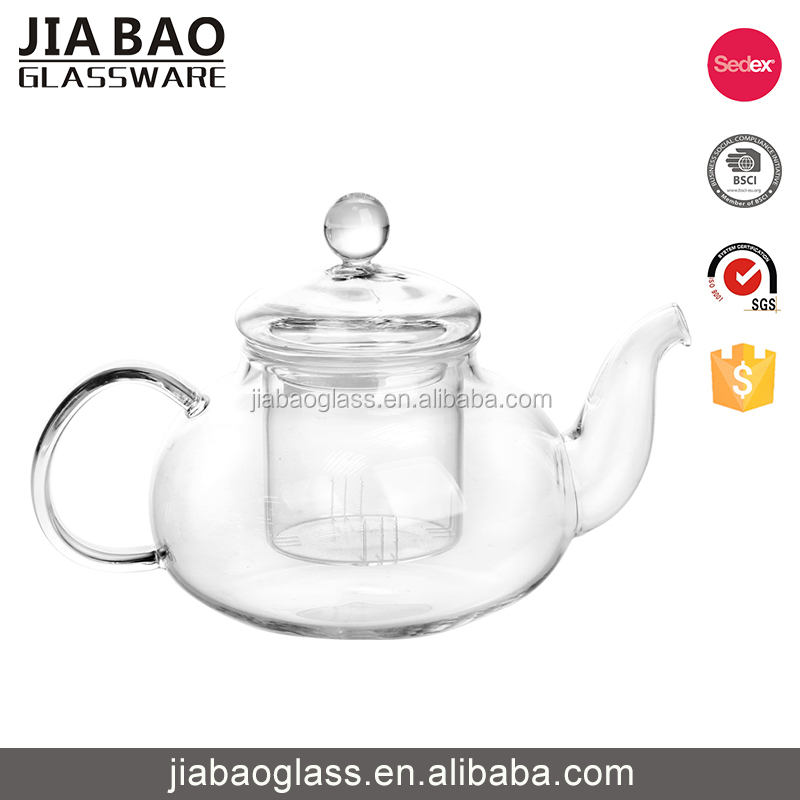 634ml Creative design clear personalized teapot glass arabic teapot with infuser