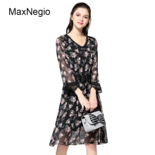 Maxnegio 2018 New Model Lady Chiffon Lace Dresses Plus Size Elegant Floral Print Women Summer Dress