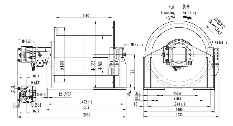 INI Invention patent hydraulic free fall winch