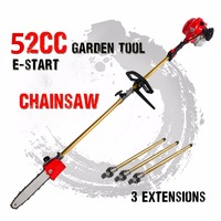 52cc Long Reach Pole Chainsaw telescopic pole Petrol Chain Saw Brush Cutter Tree Pruner with 3 etend pole Garden Tools