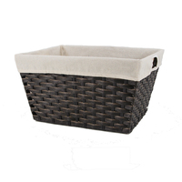 Extra large storage basket plastic woven laundry storage box bin with handle and liners