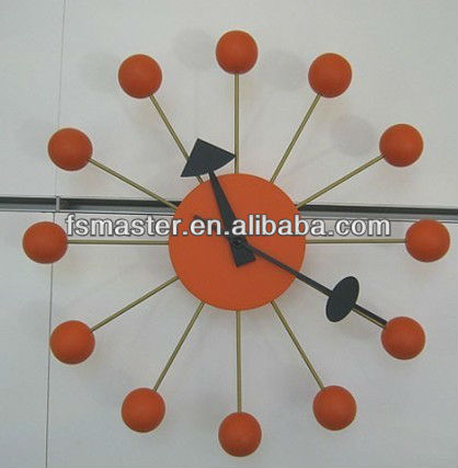 Home design bedroom decorative wooden balls modern wall clocks