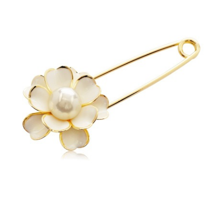 Long Needle Flower Lapel Pin For Women Clothes