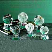 Cristal sports ball paperweight glass globe/baseball trophy awards wholesale