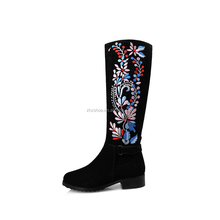 new designs flat genuine leather embroider women shoes half Boots