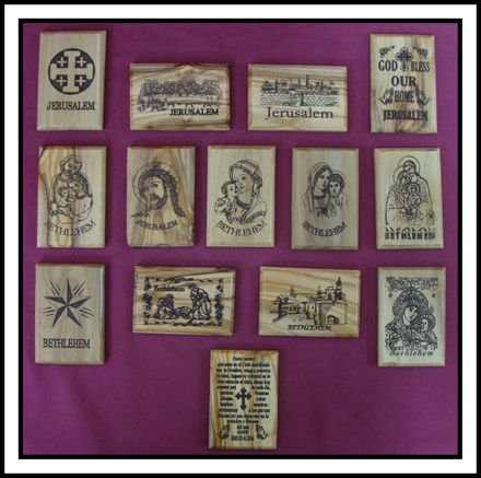 Holy Land Christian Olive Wood Fridge Magnets