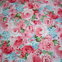 Factory Wholesale Woven Cotton Children Clothing Rose Floral Print Fabric