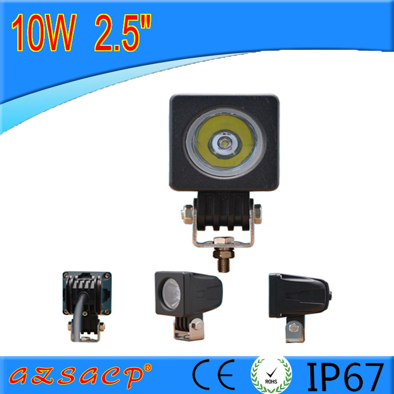 High quality 2.5'' 10W LED work lights with dimmer, 6000K-6500K 10watt work light led