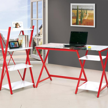 Latest modern design office furniture set Metal desk with 4 layers storage rack shelf
