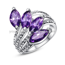 R375 Hot sale unique costume fashion ring elegance rings for womenamethyst gemstone ring