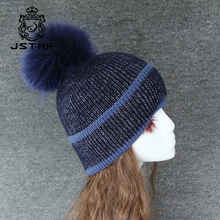 2017 winter custom beanie hat with Navy blue fur ball top,warm and soft for wholesale