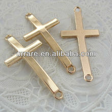 KC Gold Plating Cross Shape Sideway Connectors for Leather Bracelet