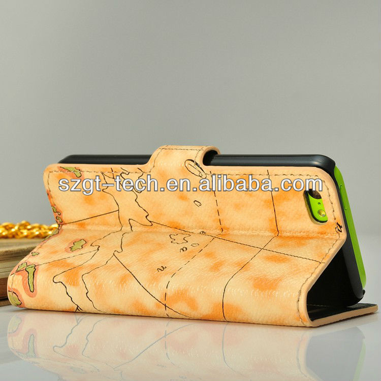 Book style case for iPhone5C with world map pattern