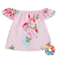 New Fashion Design Baby Girl Flower Printed Designs Beautiful Tops Wholesale Kids Girls T Shirt