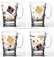 6oz 8oz 10oz 12oz Caffe Latte Espresso Cappuccino color printing coffee mug drinking glass mug with han