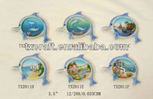 Souvenir decoration polyresin craft dolphin 3d fridge magnet