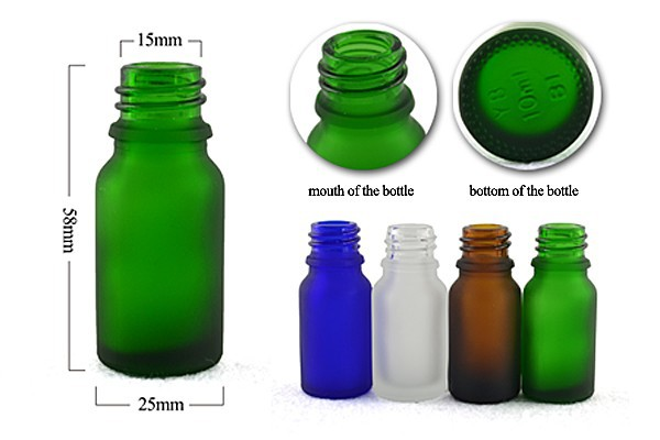 frosted green glass dropper bottle 10 ml for essential oil