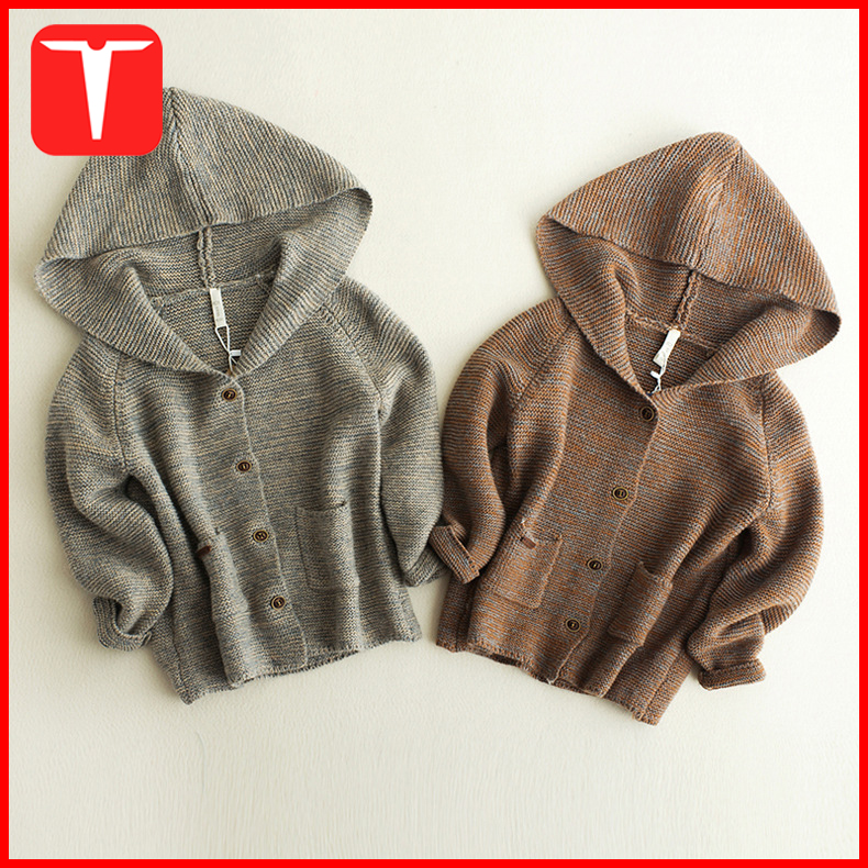 Fashion hooded designs winter cardigan baby boy sweater