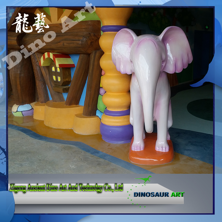 Outdoor Custom Made Fiberglass Cartoon Realistic Elephant Sculpture