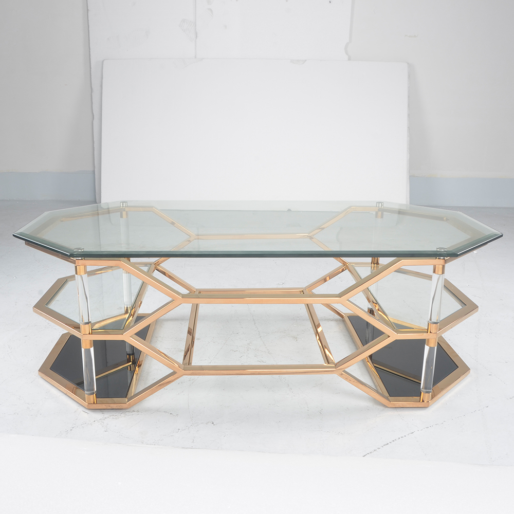 Simple design glass top tea table stainless steel arcylic tube table CT5728