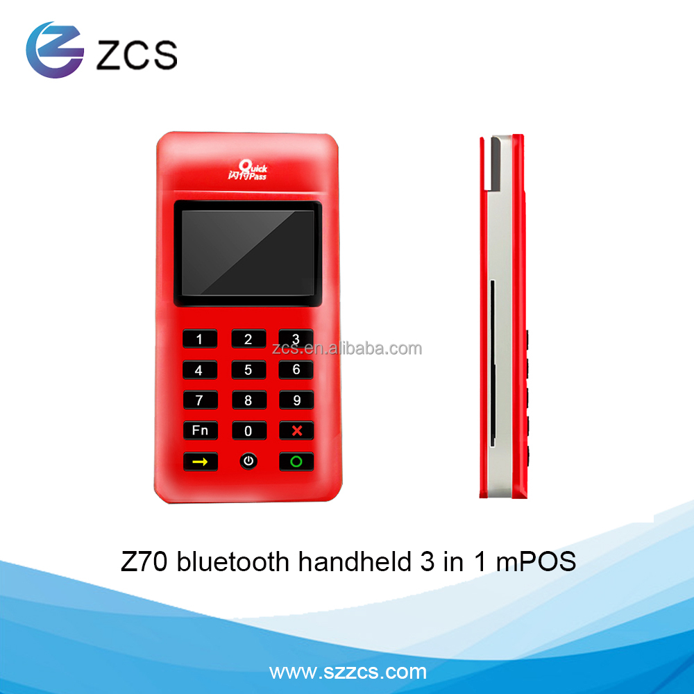 ZCS Z70 handheld msr+emv+nfc reader Mobile Bluetooth smart payment machine mpos with pinpad